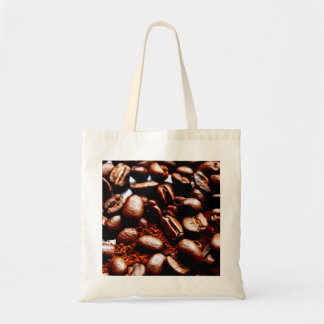 Freshly ground coffee and beans tote