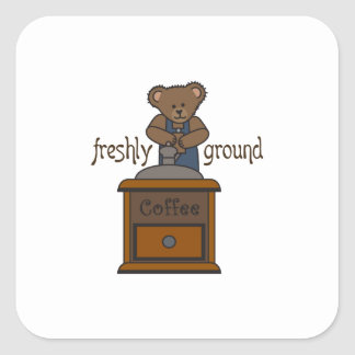 FRESHLY GROUND COFFEE SQUARE STICKERS
