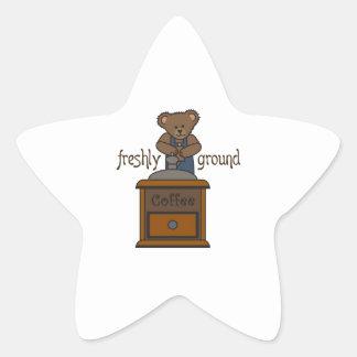 FRESHLY GROUND COFFEE STAR STICKERS