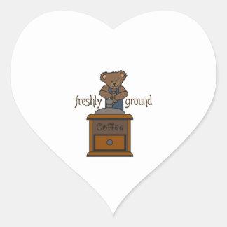 FRESHLY GROUND COFFEE HEART STICKERS