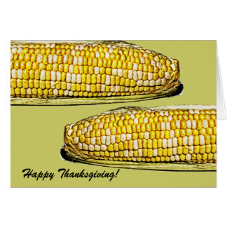 freshly harvested corn on a cob thanksgiving card