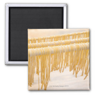 Freshly made pasta drying on a wooden rack magnet