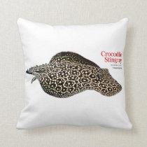 Freshwater Crocodile Stingray Throw Pillow