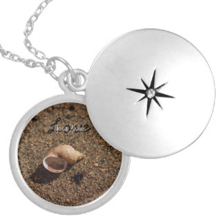 Freshwater Snail Shell; Customizable Round Locket Necklace