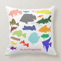 Freshwater Tropical Fish Throw Pillow