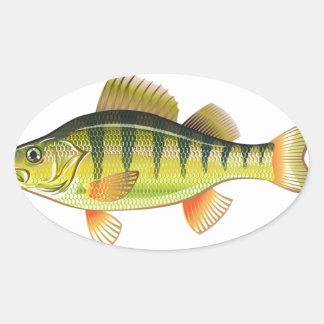 Freshwater Yellow Perch Vector Art graphic design Oval Sticker