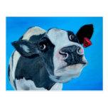 fresian nosey de la vaca del arte tarjetas postales