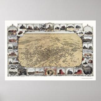 Fresno, CA Panoramic Map - 1901 Poster