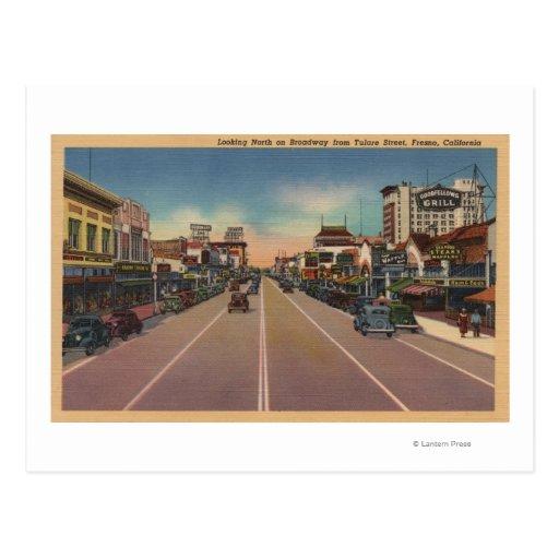 Fresno, CA View - North on Broadway Postcard