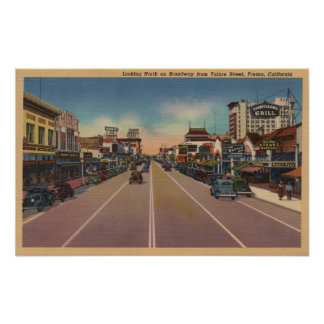 Fresno, CA View - North on Broadway Poster