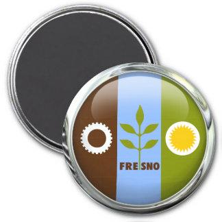 Fresno Flag Glass Ball 3 Inch Round Magnet