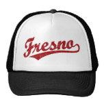 Fresno script logo in red distressed trucker hats