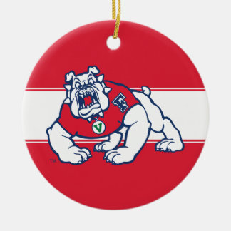 Fresno State Bulldog Ceramic Ornament