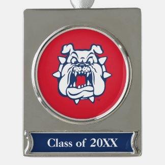 Fresno State Bulldog Head Silver Plated Banner Ornament