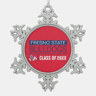 Fresno State Bulldogs Alumni Snowflake Pewter Christmas Ornament