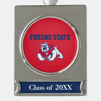 Fresno State Customize Your Sport Silver Plated Banner Ornament