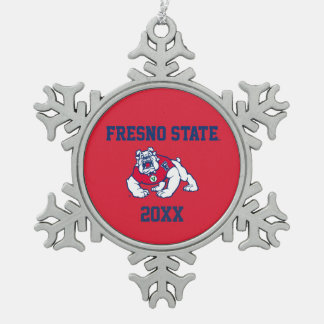 Fresno State Customize Your Sport Snowflake Pewter Christmas Ornament