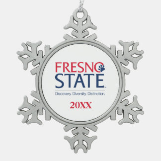 Fresno State University Slogan Snowflake Pewter Christmas Ornament