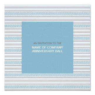 """Fret Stripe Cornflower Corporate Ball Invitation 1 5.25"""" Square Invitation Card"""