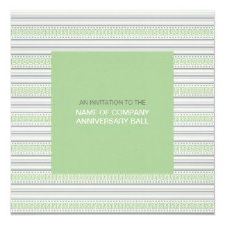 """Fret Stripe Pistachio Corporate Ball Invitation 1 5.25"""" Square Invitation Card"""