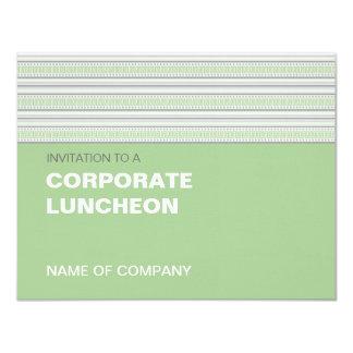 """Fret Stripe Pistachio Corporate Luncheon 4.25"""" X 5.5"""" Invitation Card"""