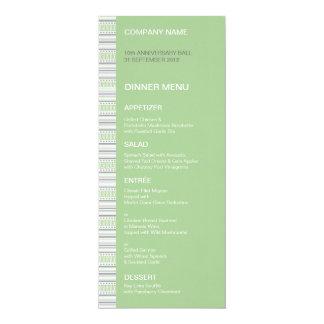 "Fret Stripe Pistachio Dinner Menu 4"" X 9.25"" Invitation Card"