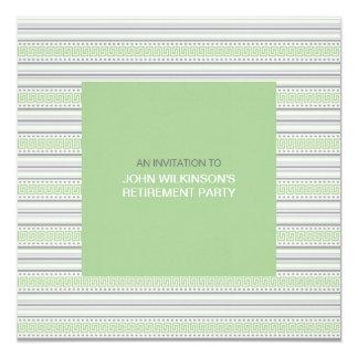 """Fret Stripe Pistachio Retirement Party Invite 5.25"""" Square Invitation Card"""