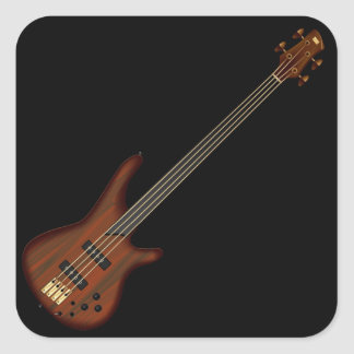 Fretless 4 String Bass Guitar Square Sticker