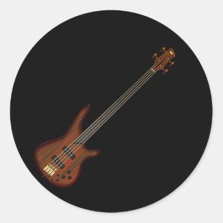 Fretless 4 String Bass Guitar Classic Round Sticker