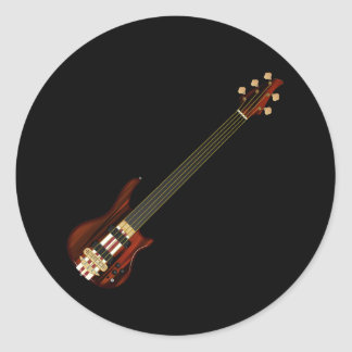 Fretless 5 String Bass Guitar Classic Round Sticker