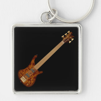 Fretless 5 String Bass Guitar Silver-Colored Square Keychain