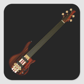Fretless 5 String Bass Guitar Square Sticker