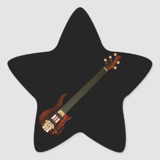 Fretless 5 String Bass Guitar Star Sticker