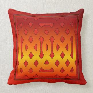 Fretwork Design Over Antique Red Velvet Effect Throw Pillow