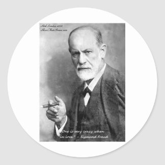 Freud Crazy Lovers Love Quote Gifts Cards Etc Classic Round Sticker
