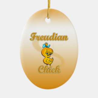 Freudian Chick Double-Sided Oval Ceramic Christmas Ornament
