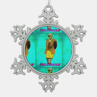 Freudian Slip Grunge Pop Art Meme Snowflake Pewter Christmas Ornament