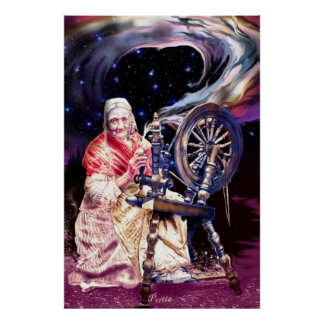 Freya at her Spinning Wheel by Portia St. Luke Poster