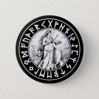 Freya Rune Shield on Blk Button