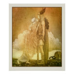 Freyja and Svipdag by John Bauer 1911 Poster