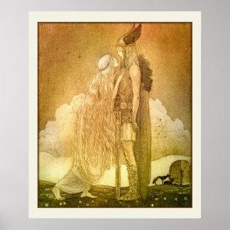 Freyja and Svipdag by John Bauer 1911 Scandinavian Poster