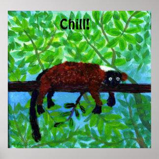 ¡Frialdad animal del poster del Lemur rojo!