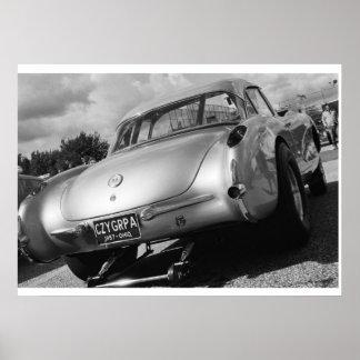 Fricción del vintage - Corvette 1957 de Chevy Gass Impresiones