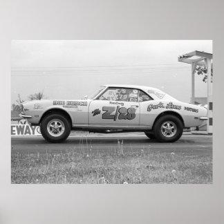 Fricción del vintage - fricción de Chevy Camaro Póster