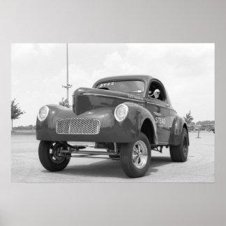 Fricción del vintage - Willys Gasser Póster
