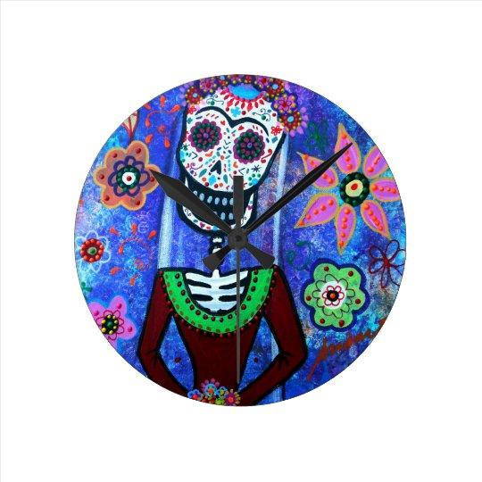 Frida Brida Day of the Dead Round Clock