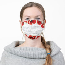 Frida Kahlo   Beautiful Red Floral Pattern Adult Cloth Face Mask