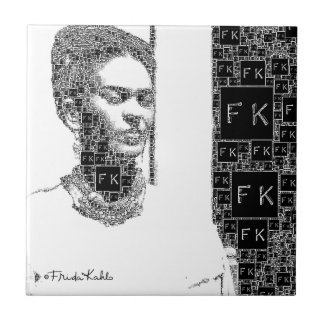 Frida Kahlo Black and White Portrait Small Square Tile