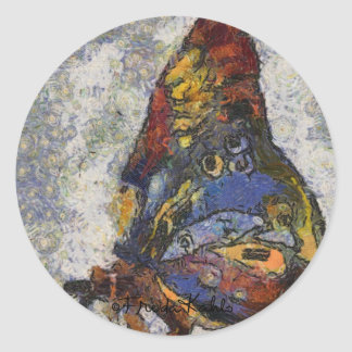 Frida Kahlo Butterfly Monet Inspired Classic Round Sticker