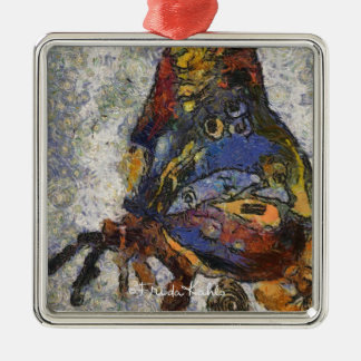 Frida Kahlo Butterfly Monet Inspired Metal Ornament